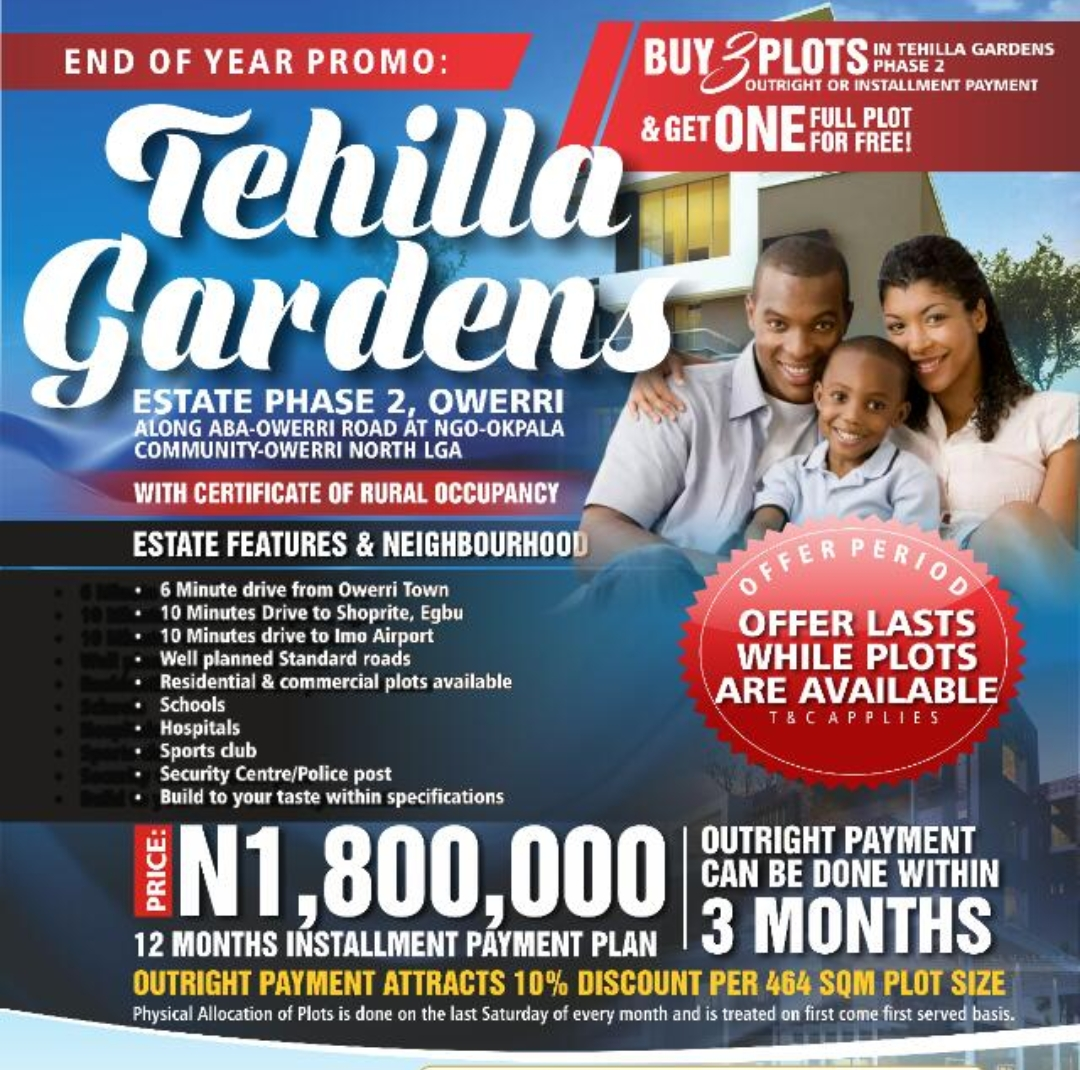 TEHILLA GARDENS ESTATE PHASE 2, OWERRI