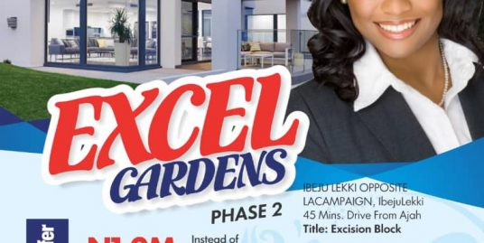 EXCEL GARDENS PHASE 2, Ibeju-Lekki, Directly opposite La'Campagne Tropicana Beach Resort